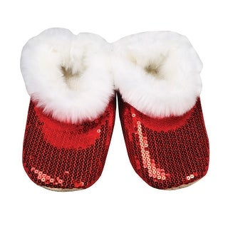Women's Red Shiny Sequin Slippers - Indoor - Faux Fur Interior