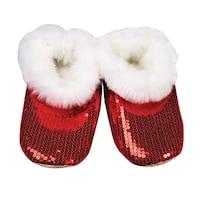 Women's Red Shiny Sequin Slippers - Indoor - Faux Fur Interior