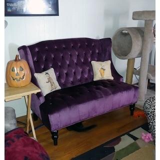 Leora Wingback Tufted Velvet Fabric Loveseat by Christopher Knight Home