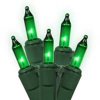 Set of 100 Green Mini Christmas Lights - Green Wire