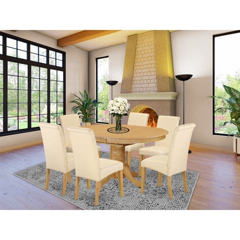 5Pc Oval Kitchen table with elegant parson chairs (Number of chair option)