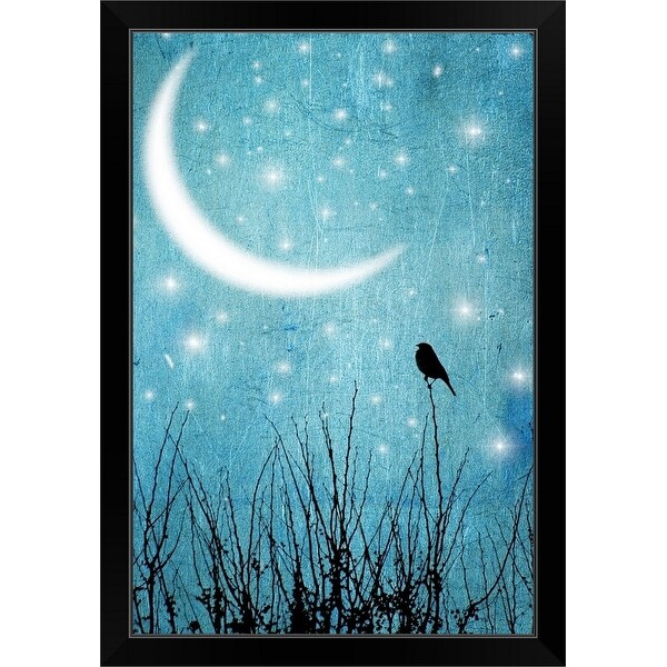 """""""Silhouette of one bird and branches against a blue starry night with a quarter moon."""" Black Framed Print"""