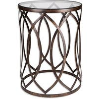 Palais Furnishings Feuilles Metal Barrel End Table,Golden Accent Design.