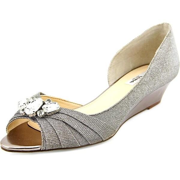 Nina Romina Women Open Toe Canvas Silver Wedge Sandal