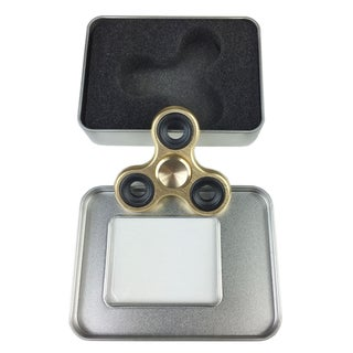 Metal Fidget Hand Spinner Long Spin ADHD Stress Relief Desk Toy With Gift Box. - GOLD