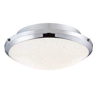 """Platinum PCGR1617 Glimmer Single Light 17"""" Wide Integrated LED Flush Mount Ceiling Fixture with Glass Shade and Crystal Sand"""