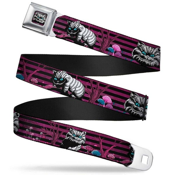 Cheshire Cat Face Stripe Full Color Purple Black White Cheshire Cat Face Seatbelt Belt
