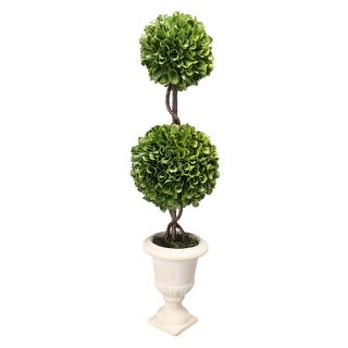 "19.5"" Green and White Artificial Boxwood Topiary-Double Sphere"