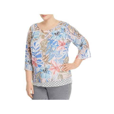 Status by Chenault Womens Plus Pullover Top Floral Print Layered Look