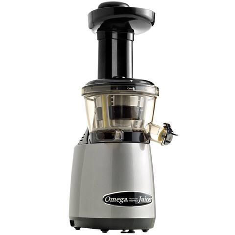 Omega Juicers VRT400HDS Vertical Masticating Juicer with Flap, Silver & Black