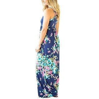 Women's Floral Print Round Neck Sleeveless Long Maxi Casual Dress