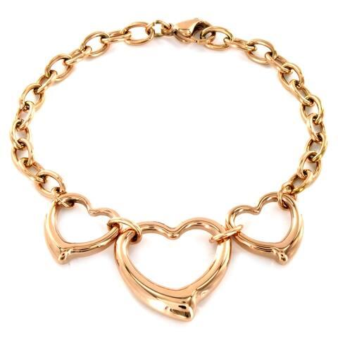 High-polish Stainless Steel Three Open Hearts Charm Bracelet