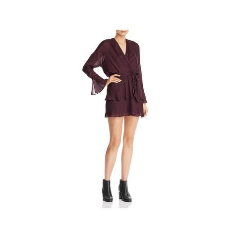 Joie Womens Marcel Shift Dress Herringbone Tiered - Blackberry - M