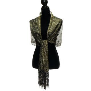 Womens Wedding Evening Wrap Shawl Glitter Metallic Prom Party Scarf with Fringe (More options available)