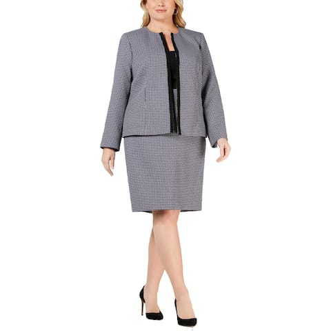 Le Suit Womens Plus Skirt Suit 2PC Flyaway