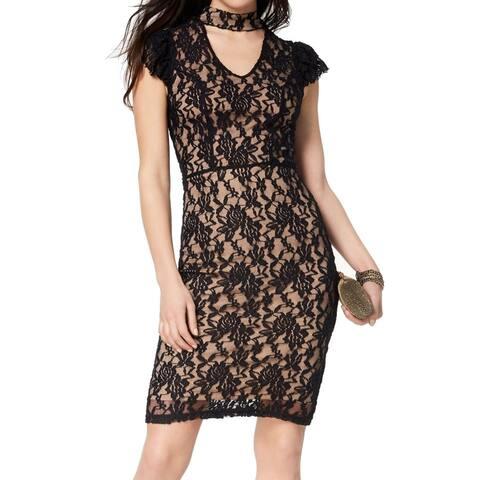 XOXO Black Women's Size Small S Lace Overlay Choker Sheath Dress
