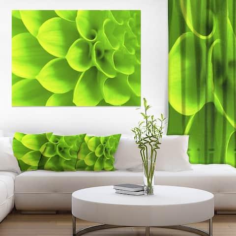 Designart 'Bright Green Flower Petals' Modern Floral Canvas Wall Art