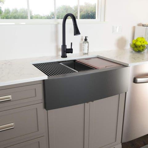 Proox 33 In. Matte Black Farmhouse Apron Front Kitchen Sink w/ accessories