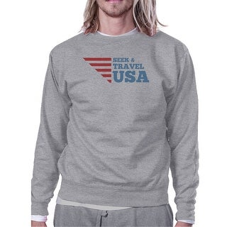 Seek & Travel USA Unisex Graphic Sweatshirt Gray Round Neck Fleece