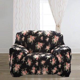 Home Polyester Rose Pattern Elastic Chair Cover Slipcover Protector 35-55 Inch