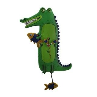Allen Designs Green Gator Pendulum Wall Clock