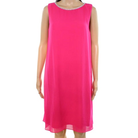 MSK Hot Pink Womens Size 6 Embellished Sleeveless Shift Dress