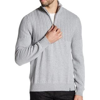 Calvin Klein NEW Gray Heather Mens Small S 1/2 Zip Cable-Knit Sweater|https://ak1.ostkcdn.com/images/products/is/images/direct/a36e3cadb467e3de6166e633794408e79d367890/Calvin-Klein-NEW-Gray-Heather-Mens-Small-S-1-2-Zip-Cable-Knit-Sweater.jpg?impolicy=medium