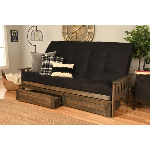 Somette Tucson Queen-size Futon Set with Storage Drawers in Rustic Walnut Finish with Mattress