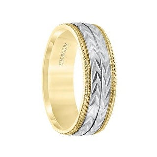 14k Two Toned Yellow & White Gold Center Wedding Band Flat Wheat Design Milgrain Rope Edges by ArtCarved- 7 mm (More options available)