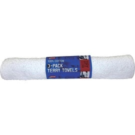 Carrand 3Pk White Terry Towels