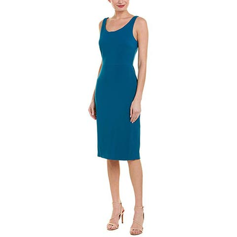 Betsey Johnson Womens Scuba Crepe Midi Dress Sleeveless Professional Wear