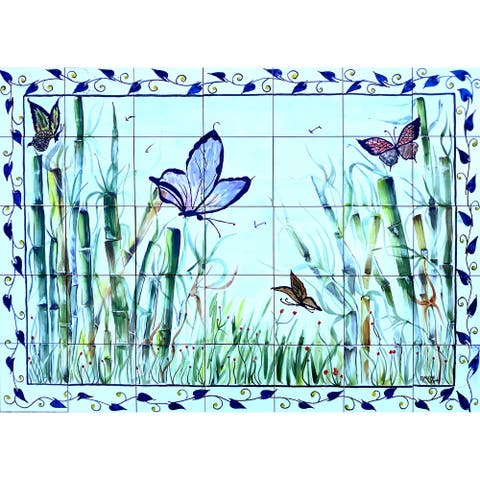 42in x 30in Butterfly Motif 35pc Mosaic Tile Ceramic Wall Mural