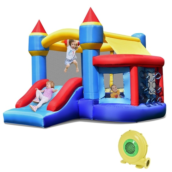 Costway Inflatable Bounce House Castle Slide Bouncer Shooting Net - 94.5''x 106.5''x 79'' (L x W x H). Opens flyout.