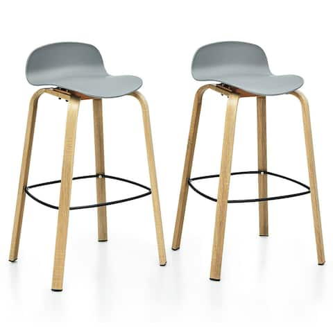 Gymax Modern Set of 2 Barstools 30inch Pub Chairs w/Low Back & Metal