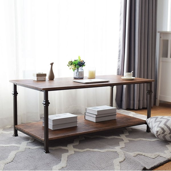 Storage End Tables For Living Room: Shop Gymax 2 Tier Coffee Accent End Table Sofa Side Living