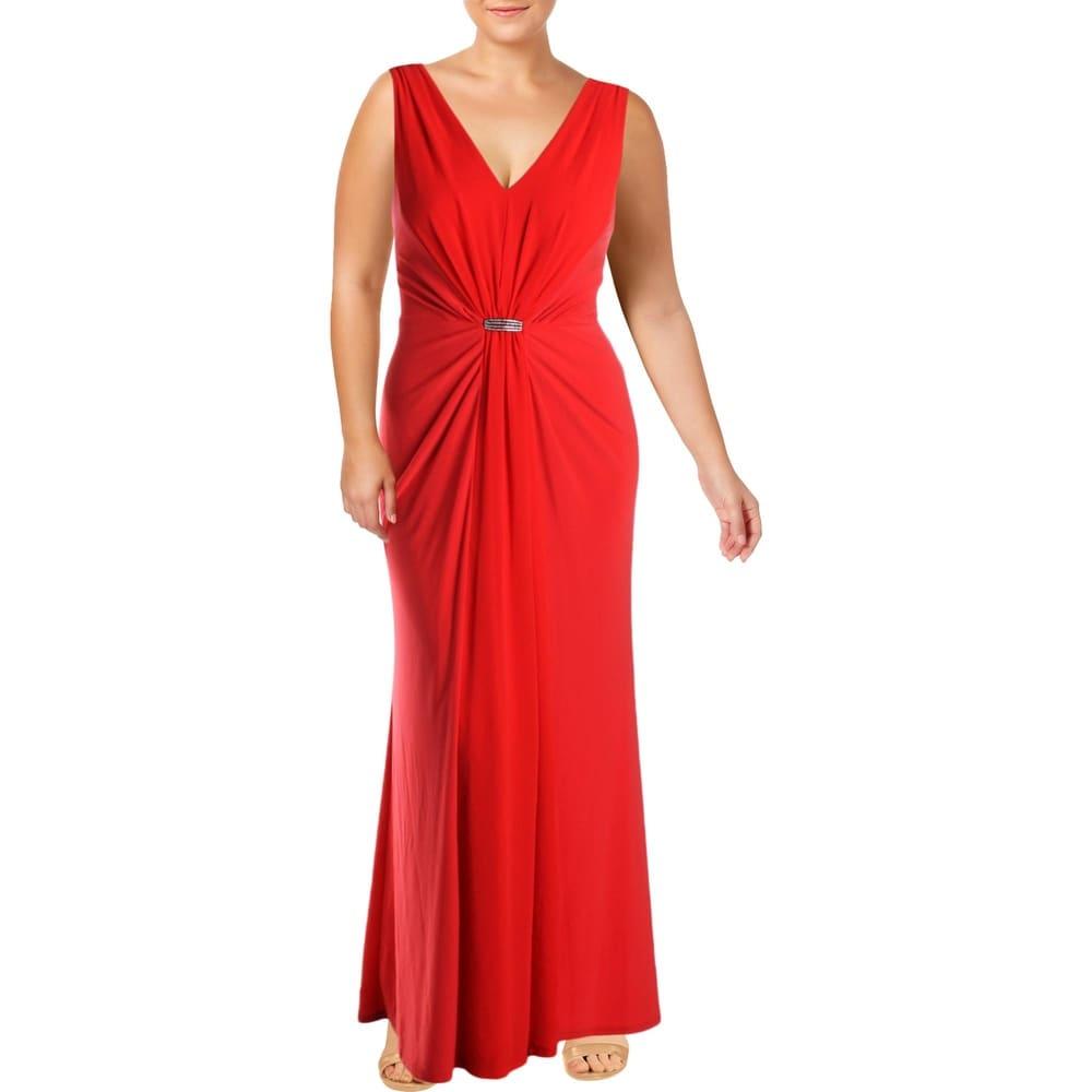 Lauren Ralph Lauren Womens Vawlisa Evening Dress Brooch Detail Draped - Red