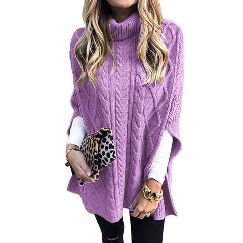 Women Autumn Solid Color Turtle Neck Twist Braid Knitted Shawl Sweater Pullover