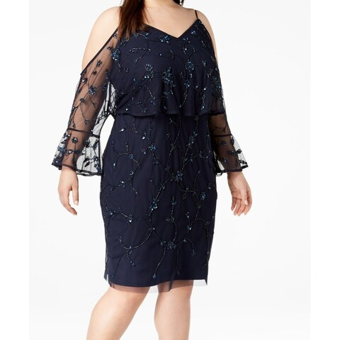 Adrianna Papell Cold-Shoulder Beaded Plus Mesh Dress