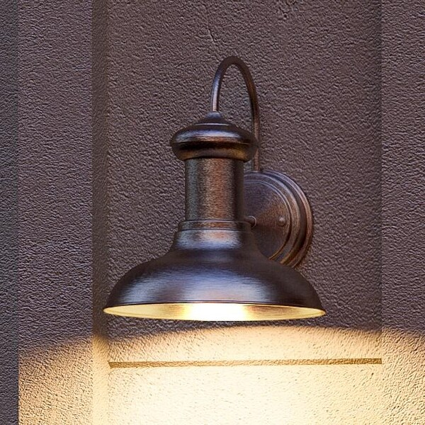 """Luxury Industrial Chic Outdoor Wall Light, 10""""H x 8.125""""W, with Nautical Style Elements, Aged Nickel Finish by Urban Ambiance. Opens flyout."""