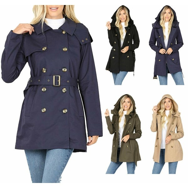 NioBe Clothing Womens Cotton Hooded Twill Trench Coat Jacket