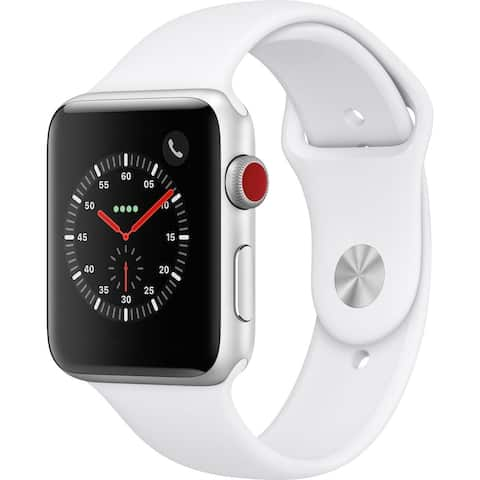 Apple Watch Series 3 42mm Refurbished (GPS w/ 3G, Silver Case, White Band)