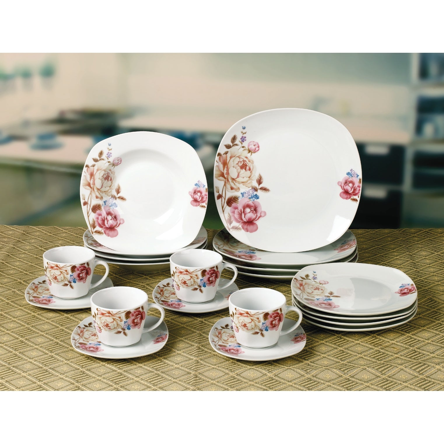 Porcelain 20 Piece Square Dinnerware Set Service For 4 Overstock 32301425
