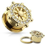 CZ Pave Yacht Wheel Top Gold IP Surgical Steel Screw Fit Flesh Tunnel (Sold Ind.)