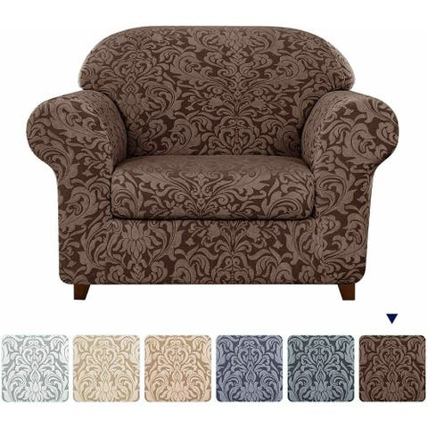 Subrtex 2-Piece Stretch Armchair Couch Cover Jacquard Damask Slipcover