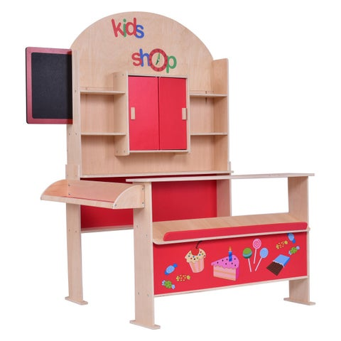 Costway Xmas Gift Wooden Toy Shop Market Shopping Pretend Play Set Toddler Kids Birthday Gift