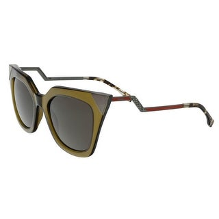 Fendi FF0060S 0MSW Iridia Clear Olive Cat Eye Sunglasses