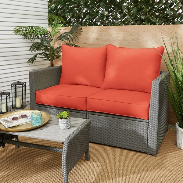 Coral Corded Indoor/ Outdoor Deep Seating Loveseat Pillow and Cushion Set. Opens flyout.