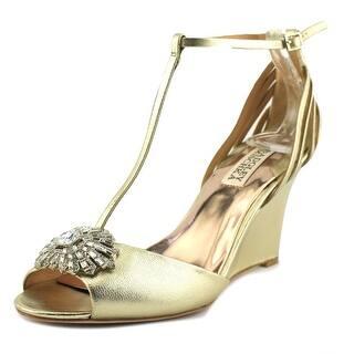 Badgley Mischka Milly II Women Open Toe Canvas Gold Wedge Heel