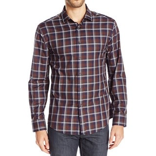 Vince Camuto NEW Coffee Brown Navy Mens Size XL Button Down Shirt