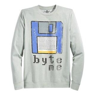 American Rag Byte Me Graphic Crewneck Sweatshirt Pewter Grey Heather Medium M